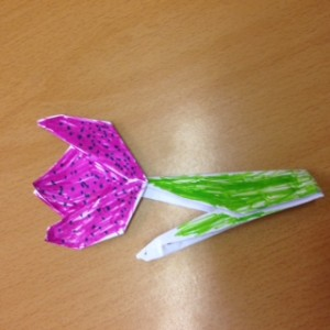 Our origami flowers.